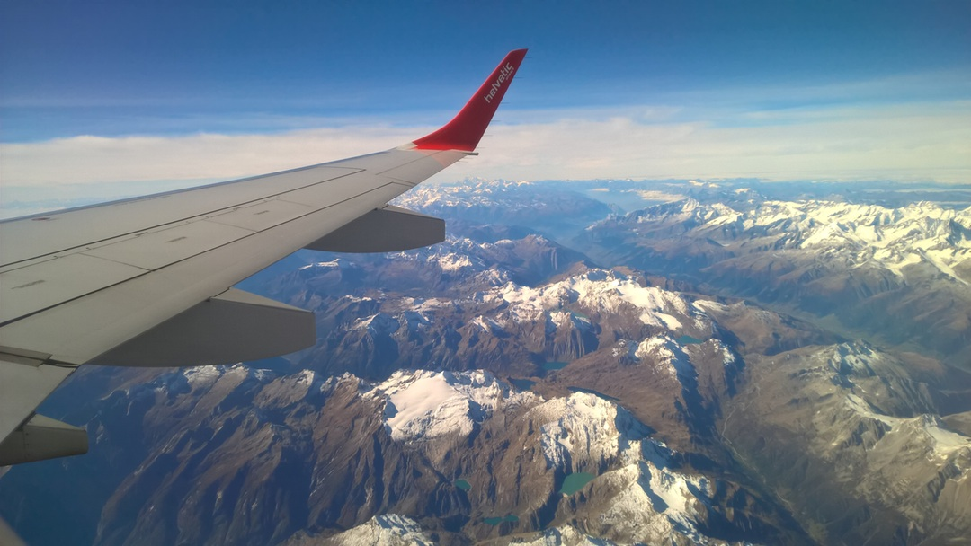 Alps from the plane wing
